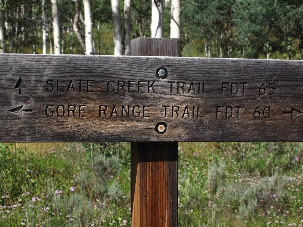 Peak L - Slate Creek Trail sign